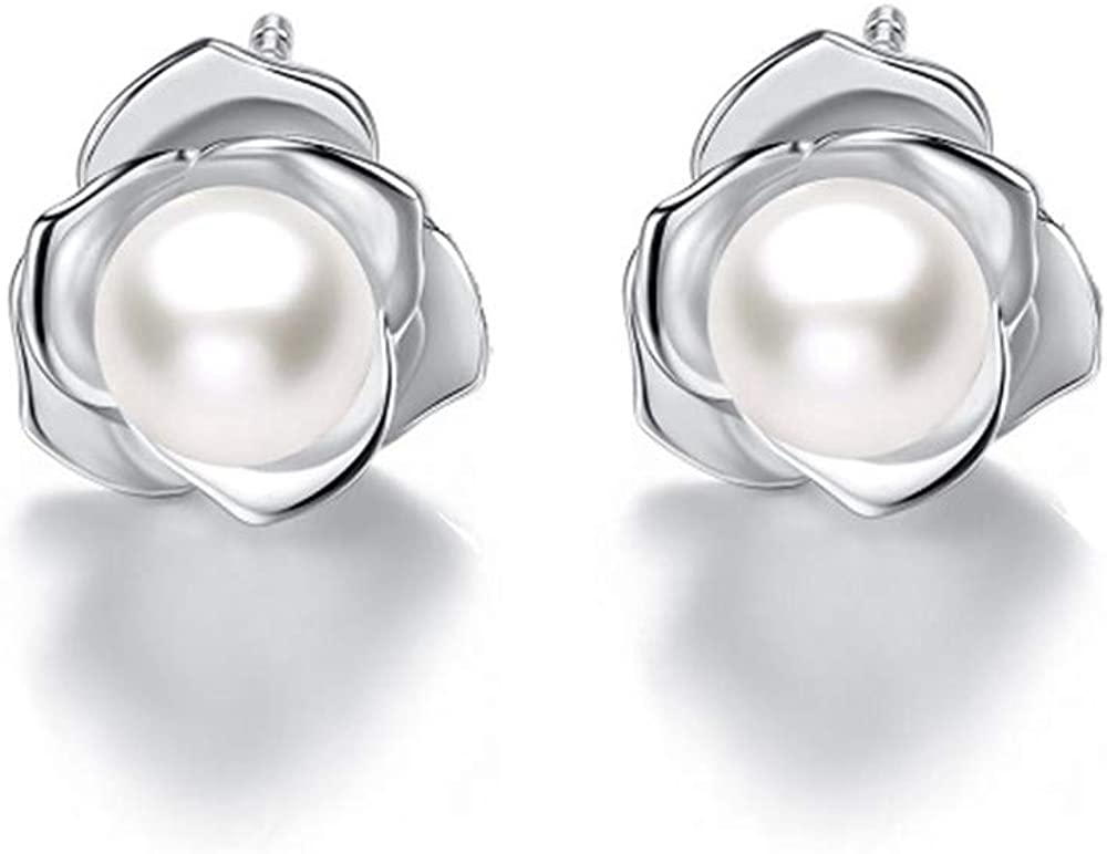 Natural 9-10mm Freshwater Pearl Jewelry Dorp Earring 925 Sterling Silver