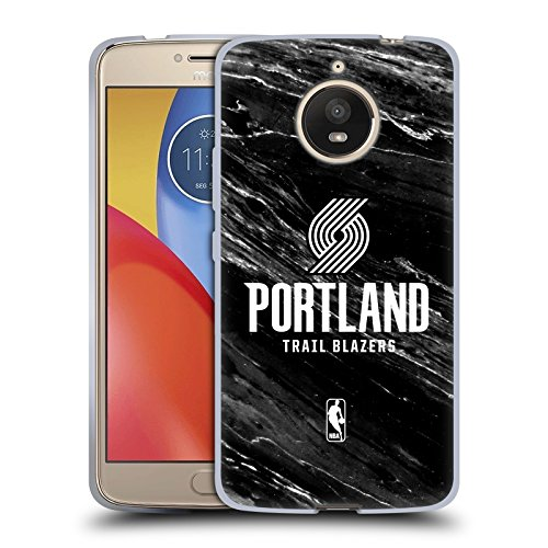 Official NBA B&W Marble Portland Trail Blazers Soft Gel Case for Motorola Moto E4 - Moto Portland
