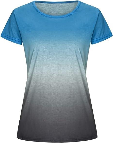 Camiseta De Verano con Estampado De Degradado Arcoiris Y Manga Larga para Mujer: Amazon.es: Ropa y accesorios