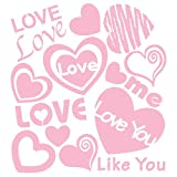 Romantic Love Hearts (Baby Pink) - Reusable Home Decor Wall Sticker Decal