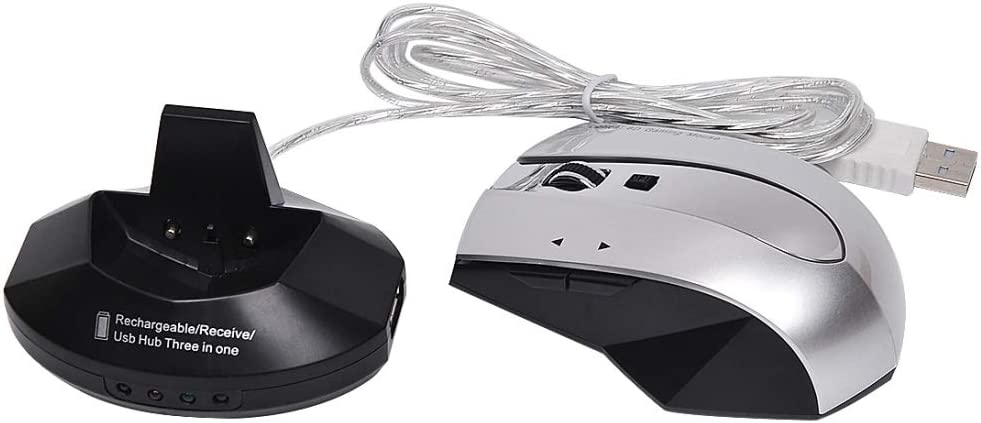 45532rr Souris sans Fil Souris sans Fil 2,4 GHz Mini Souris Optique USB Mini récepteur sans Fil Optique Ordinateur Gaming Mouse (Color : Silver) Black Silver