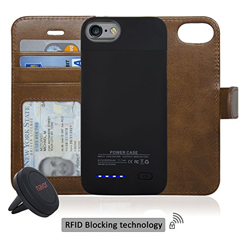 Navor RFID Folio Wallet Magnetic Detachable Power Battery Case 3000mAh for iPhone 7 / 6 / 8 [4.7 Inch] - Brown