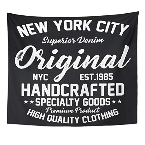 New York Giants Denim - Emvency Wall Tapestry Blue College New York City Superior Denim Premium Product Original Graphics Luxury NYC Vintage Authentic Brand Chic Decor Wall Hanging Picnic Bedsheet Blanket 60x50 Inches