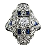 FEDULK Womens Luxury Rings Topaz Sapphire Wedding Engagement Novelty Couples Lover Gifts Hollow Jewelry Rings(Multicolor, 9)