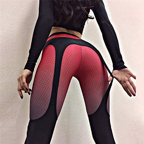 bibss New Women's Sports Leggings Spliced Yoga Pants Digital Printing Workout Streatch Leggings (Red,M)