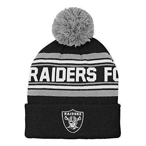 Outerstuff NFL Oakland Raiders Kids & Youth Boys Jacquard Cuffed Knit Hat with Pom Black, Kids One Size
