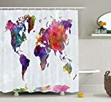 Yokii Watercolor Map Shower Curtain, Multicolored Hand Drawn World Map Asia Europe Africa America Geography Print, Fabric Bathroom Decor Set with Hooks Multicolor,72 Inches Long