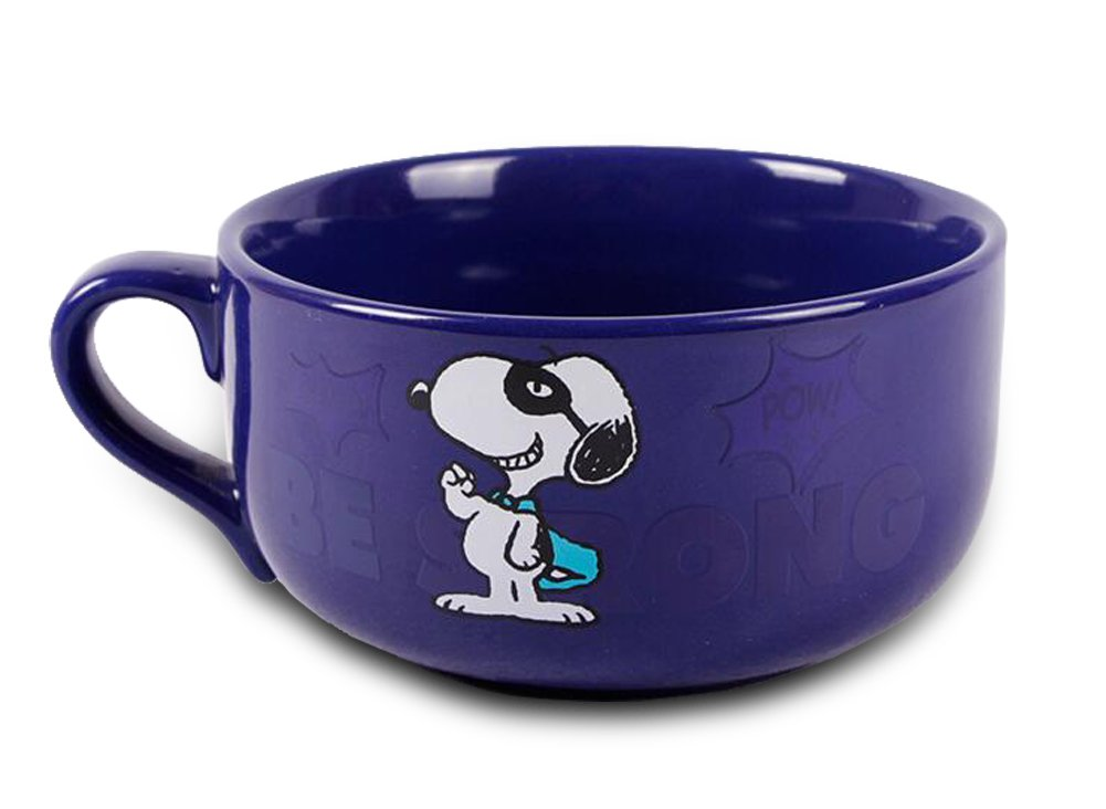 Finex Snoopy - Letter Color Changing - Ceramic Large Cereal Cup Soup Bowl Mug Random Letter on Mug (Blue) SF281C