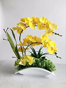 LQAQ Artificial Phalaenopsis Home decorKitFloral Arts Silk Flower Potted Yellow