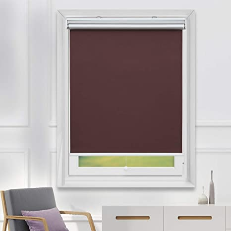 Amazon Com Tfsky 100 Blackout Blinds For Windows Cordless Window Roller Shades Blind For Daytime And Nighttime Chocolate 35 X 72 Inch Kitchen Dining