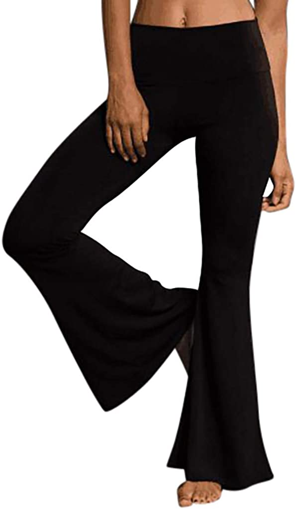 LHVUOA Womens High Elastic Waist Bell-Bottom Skinny Yoga Casual Pants Solid Black Stretch Flared Trousers