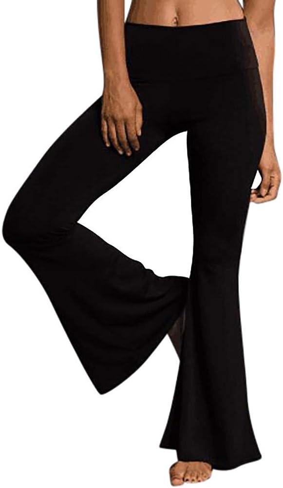 Hanomes Pantalones Acampanados De Color Liso Para Mujer Pantalones ...