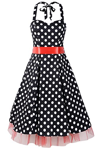 50s Big Polka Dot Swing Rockabilly Party Halter Prom Dress (US12, Black&Red -