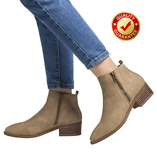 Luoika Ankle Boots For Women,PU Leather Low Chunky Block Stacked Heels Round Toe Ankle Boots For Ladies,Winter Spring Short Slip On Ankle Boots For Lady Big Girls Kids Khaki Size (Round Toe Girls Boots)