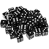 Standard 16mm Black Dice with White Pips Dots for Board Games, Activity, Casino Theme, Party Favors, Toy Gifts (100 Pack)