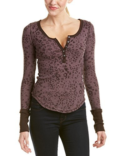 We The Free Womens Davis Textured Printed Henley Top Purple Size XS