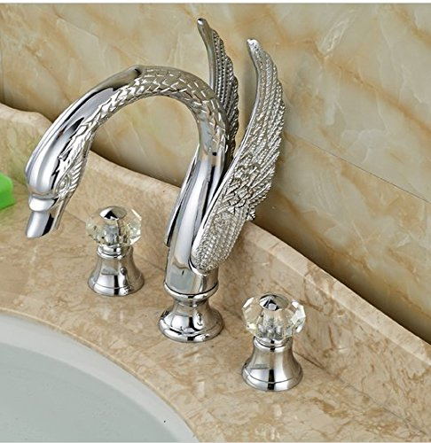 GOWE Swan Style Deck Mount Bathroom Dual Handle Basin Sink Faucet Chrome Finished 3 Holes 1