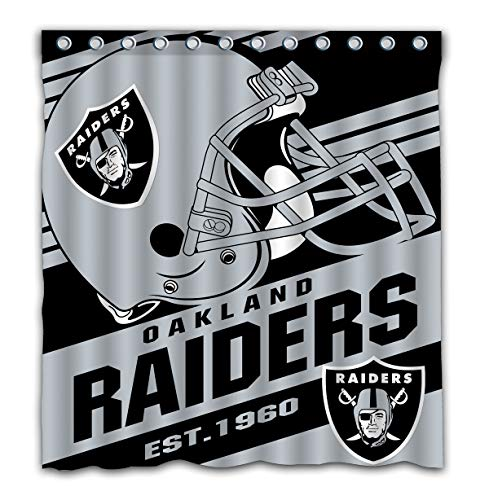 Potteroy Oakland Raiders Team Stripe Design Shower Curtain Waterproof Polyester Fabric 66x72 Inches