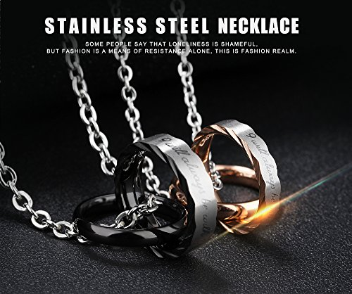 188bd31865 U365 Matching Couples Necklace His & Her Titanium Steel Eternal Love  Promise Pendant Set for Men