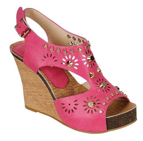 Reneeze CALM-02 Women's Studded Wedge Sandals- Fuchsia, Size 6