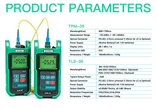 Optic Fiber Power Meter KomShine KPM-35 Fiber Optic FTTH Maintenance + Optical Fiber Singlemode Light Source (Best Power Meter For Optic Fibers)