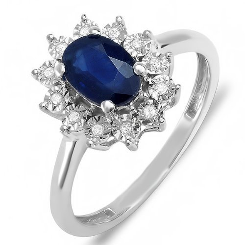 Kate Middleton Diana Inspired 10K White Gold Real Round Diamond Real Oval Blue Sapphire Ring