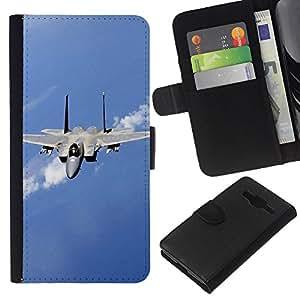 All Phone Most Case / Oferta Especial Cáscara Funda de cuero Monedero Cubierta de proteccion Caso / Wallet Case for Samsung Galaxy Core Prime // Nature Fighter Jet
