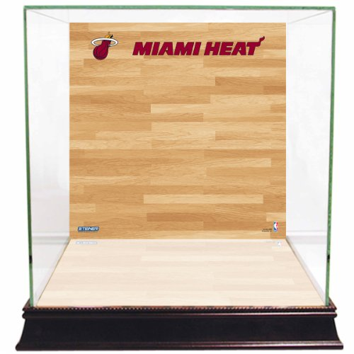 Glass Miami Heat - NBA Miami Heat Glass Basketball Display Case with Team Logo on Court Background