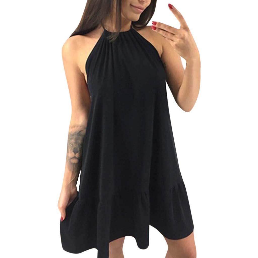 A-Artist Sommerkleid Ruffle Kleider Damen V-Ausschnitt Schulterfrei Strandkleider Einfarbig A-Linie Kleid Boho Knielang Kleid Ohne Zubehör