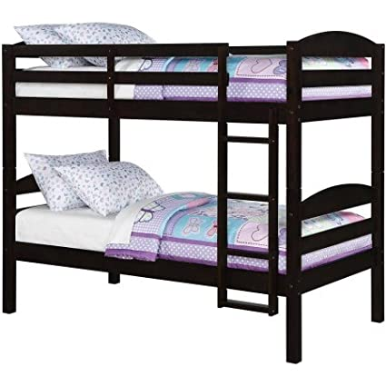 Amazon Com Mainstays Twin Over Twin Wood Bunk Bed In Mocha Finish