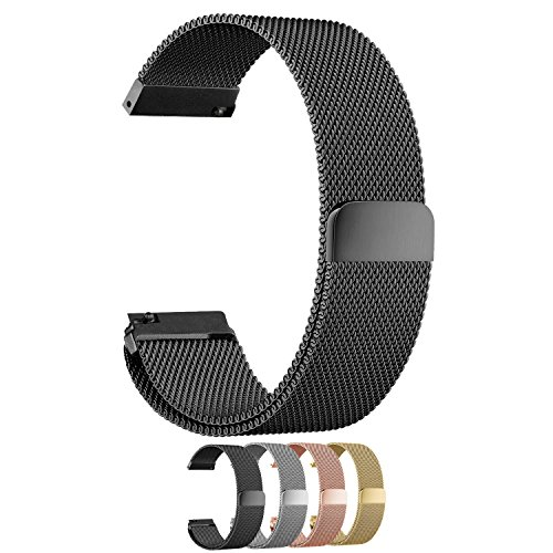 Cbin Quick Release Bracelet - Choice of Color and Width 18mm / 20mm / 22mm / 24mm Stainless Steel Fully Magnetic Closure Milanese Watch Bands for Men and Women (Black, 22mm)