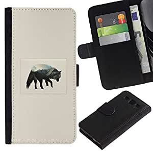 // PHONE CASE GIFT // Moda Estuche Funda de Cuero Billetera Tarjeta de crédito dinero bolsa Cubierta de proteccion Caso Samsung Galaxy S3 III I9300 / Gray Wolf Mountain /