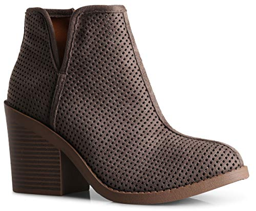 Womens Lynn Perforated Laser Cut Out Stacked Chunky Block High Heel Ankle Bootie Charcoal SU 6.5