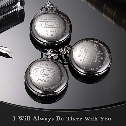 Pocket Watch Men Personalized Black Chain SIBOSUN Quartz Gift Mother Father Dad to Son Engraved Analog by SIBOSUN (Image #1)