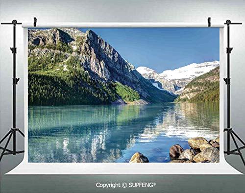 Photography Backdrops Lake Louise in Banff National Park Canada Lakeside Rocks Clear Water Scenic Picture 3D Backdrops for Photography Backdrop Photo Background Studio Prop -