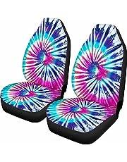 Dolyues Volledige set autostoelhoezen, blauwe vlinder bladeren esdoorn stoelhoezen voor alleen voorstoelen, universele pasvorm voor voertuig Sedan, auto interieur accessoires Protector Decor