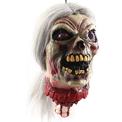 Wrightus Halloween Props Scary Hanging Severed Head Decorations,Life-Size Bloody Cut Off Corpse Head Ghost Animated Zombie Head for Haunted Houses Party Decor Funny Festive
