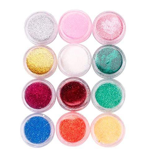 Expxon 12 Colores del Arte del Clavo Gradual Brillo Lentejuelas en Polvo, Multicolor Colores Mezclados decoración del Arte...