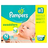 Pampers Swaddlers Diapers, Size N, Giant Pack, 128 Count (Packaging May Vary) (Health and Beauty)
