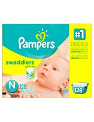 Pampers Swaddlers Diapers, Size N, Giant Pack, 128 Count (Pac...