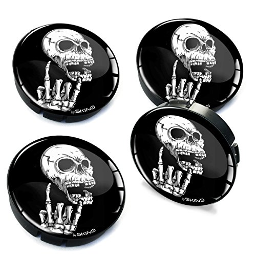 Skino 4 x 2.36 Inch / 60mm / 3D Gel Car Rims Wheel Center Hub Caps Auto Tuning Skull Skelett Middle Finger Heavy Metal C ()