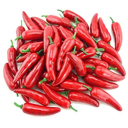 Hagao Fake Red Pepper Simulation Lifelike Hot Chili for Home Kitchen Decoration 50 pcs ()