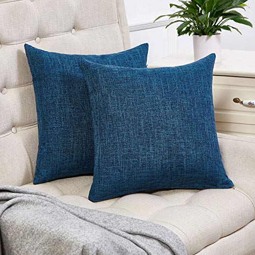 Blue Square Pillow - Anickal Set of 2 Teal Blue Pillow Covers Cotton Linen Decorative Square Throw Pillow Covers 18x18 Inch for Sofa Couch Decoration