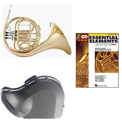 Band Directors Choice Single French Horn in F Essential Elements for French Horn Pack; Includes Student French Horn, Case, Accessories & Essential Elements for French Horn Book by French Horn Packs