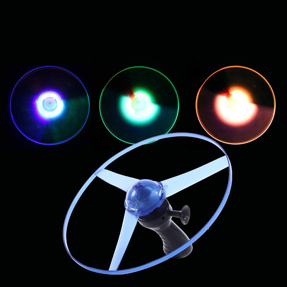 Funny Colorful Pull String UFO LED Light Up Flying Saucer Disc Kids Toy W