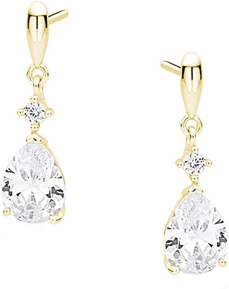 Pendientes dorados Beforya Paris, gotas de circonita cúbica, pendientes con cristales de Swarovski, plata 925 chapada en oro de 24 quilates