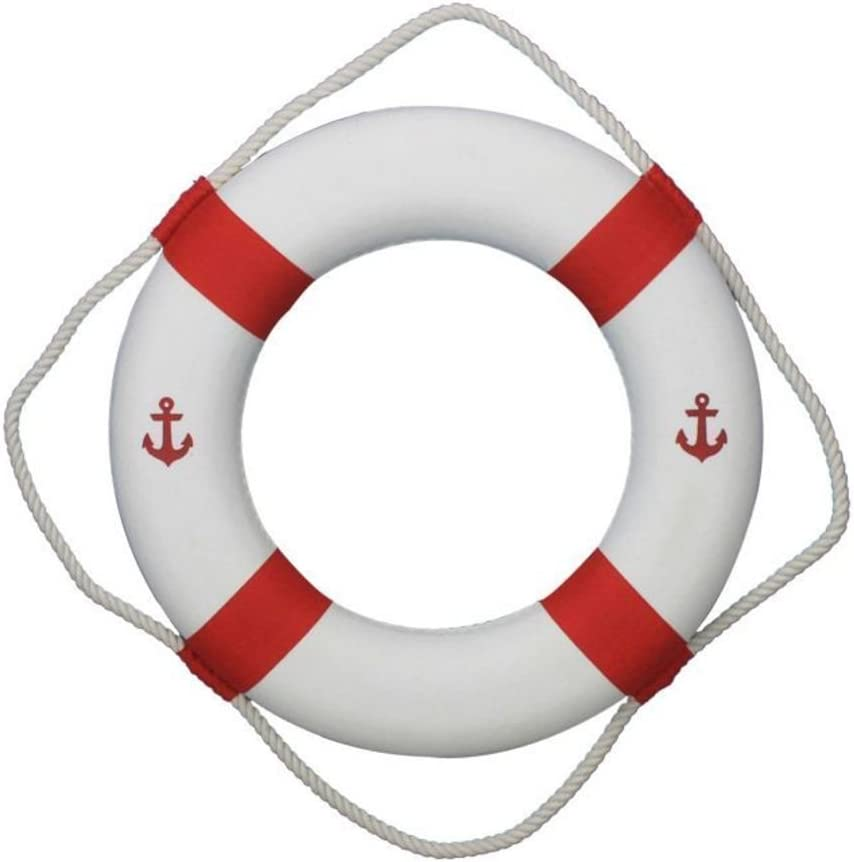 """Hampton Nautical Classic White Decorative Anchor Life Ring with Red Bands, 20"""""""