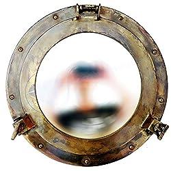Antique Brass Porthole Mirror | Maritime Ship's Decor | Wall Hanging | Nagina International (15 Inches)