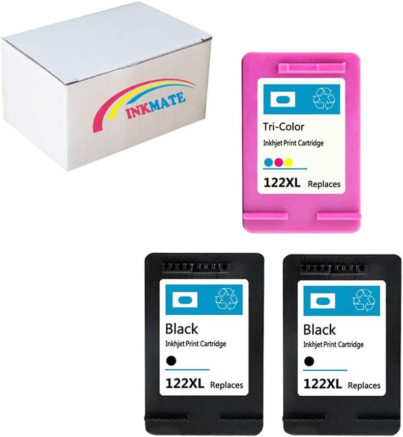INKMATE 3 Pack (2 Black & 1 Color) 122XL Ink Cartridge Replacement for 122XL Fit Deskjet 1000 1050 2050 2050S 3000 3050A