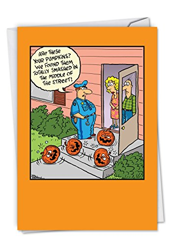 C6230HWG Smashed Pumpkins: Hysterical Halloween Card Featuring Pumpkins Accused Of Public Intoxication, with Envelope.